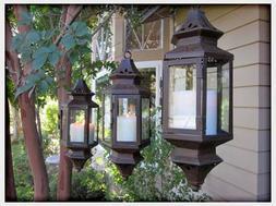 "3 bulk lot Black Moroccan Hanging 13"" Candle holder Lantern"