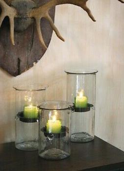 3 Glass Candle Holder Cylinders Rustic Metal Inserts Clear C