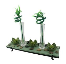 Zeckos 3 Lotus Flower Tealight Holder 2 Lucky Bamboo Candle