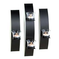 3 pc Black metal Modern Art Deco Artisanal hurricane Candle
