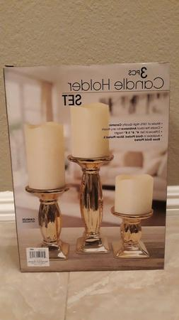 3 pcs Candle holder set color Gold candles are not included