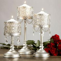 3-Piece Antique Silver Hurricane Candle Holder Set Home Acce