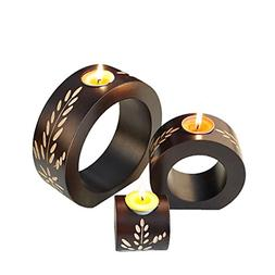 Sziqiqi 3-Piece Round Wooden Candleholder, Candle Holder for