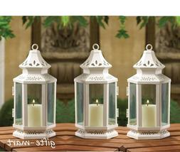 3 White colonial western shabby whitewashed Lantern Candle h