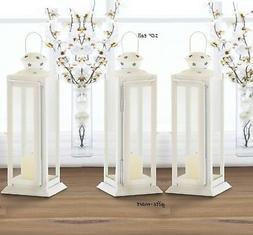 "3 WHITE country western 10"" Candle holder Lantern Lamp weddi"
