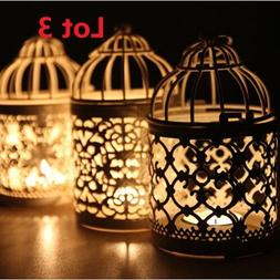 3X Bird Cage Hollow Candle Holder Tealight Candlestick Hangi