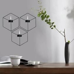 3D Geometric Wall Hanging Candle Holder Iron Frame Tealight
