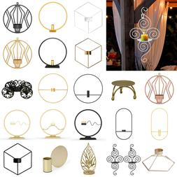 3D Geometric Wall Mounted Candle Holder Metal Tea Light Home