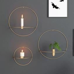 3D Metal Candlestick Wall Mounted Candle Holder Geometric Te
