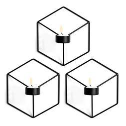 3Pcs Wall Candle Holder 3D Geometric Candlestick Metal Sconc