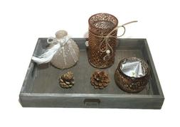 4 Piece Tealight Candle Holder Glass Set on Wooden Tray Tabl