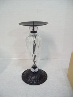 "Hosley 4"" Pillar Black Metal & Glass Candle Holder 7.55"" Tal"