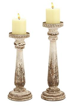 44410 Wood Candle Holder S/2