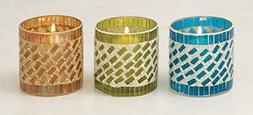45621 Glass Mosaic Candle Votive S/3