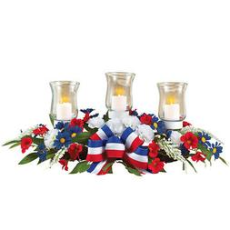 4th of July Candle Holder Floral Centerpiece, Patriotic Tabl