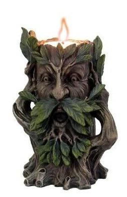 5 Inch Hear No Evil Greenman Figurine Candle Holder Resin Ma
