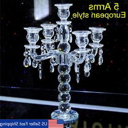5 Arm Crystal Candelabra Pillar Candle Holder Centerpiece Ca
