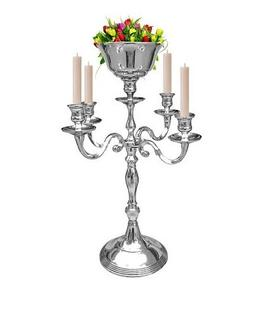 5 Arm Silver Candelabra With flower Vase Holders Taper Candl