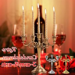 5 Arms Alloy Candle Metal Crafts Candelabra Holder Stand Wed