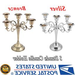 5 Arms Metal Crafts Candelabra Alloy Candle Holder Stand Wed