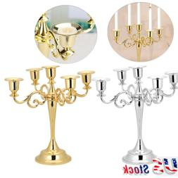 5 Arms Metal Crafts Candelabra Alloy Candle Holder Stand Hom