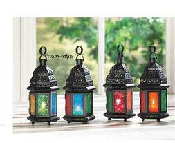 """5 Multi color rainbow 10"""" Moroccan lantern Candle holder wed"""