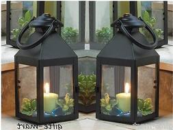 "5 small black 9"" tall Candle holder Lantern Lamp light weddi"