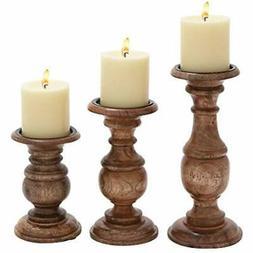 """51536 Wood Candleholder Sets Candle Holder  10"""", 8"""", 6"""" Home"""