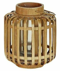 Great Finds 6-1/2 Inch Bamboo Lantern with Glass Candle Hold