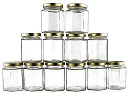 6-Ounce Hexagon Glass Jars ; Empty Hex Jars w/Gold Lids for