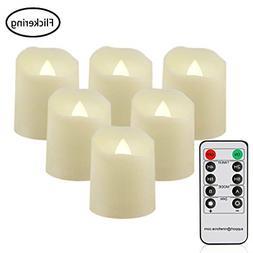 6 Flickering Luminara Flameless Led Tea Light Candle Pillar