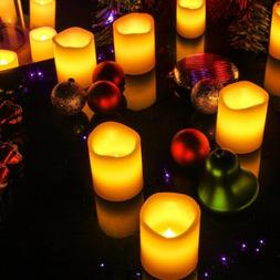 6 Ivory Votive Candles Remote Control&Timer Flameless Pillar