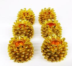 6 Pack Gold Poly Resin Pine Cone Candle Holders