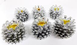 6 Pack Silver Poly Resin Pine Cone Candle Holders