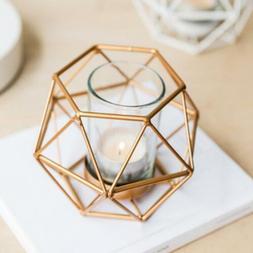 6-set Geometric Polished Tealight Candle Holder Table Top Ce