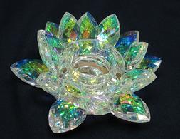 "6"" Width Beautiful Colorful Crystal Glass Growing Lotus Flow"