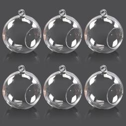 6pcs Hanging Clear Glass Globe Ball Candle Tea Light Holder