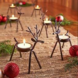 6X Reindeer Tea Light Holder Christmas Table Candles ELK Hol