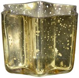 Insideretail 700457-24YEL Mercury Glass Star Tea Light Holde