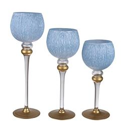 """A&B Home 75623-BLWH Ballico Candle Holders , 16""""/14""""/12"""", Bl"""