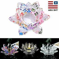 7Colors Crystal Glass Lotus Flower Candle Tea Light Holder B