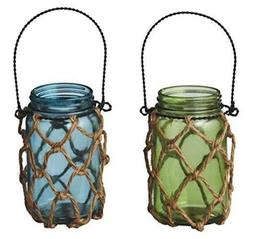 """Midwest 8""""  Mason Jar Hanging Candle Holder with Jute Rope"""