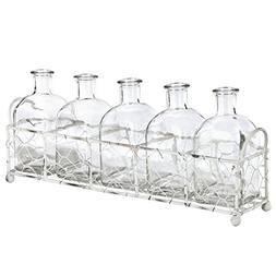 Skalny 84808 Rectangle Metal Tray W/5 Glass Bottles Vases