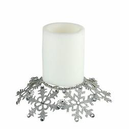 """Melrose 9"""" Silver Snowflake Glittered Jeweled Christmas Pill"""