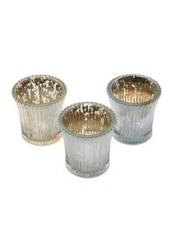 BNIB Insideretail Glass Candle Holders Distressed Silver Foi