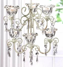 CRYSTAL BLOOMS  6 CANDLE 2-TIER HOLDER CHANDELIER & CHAIN **