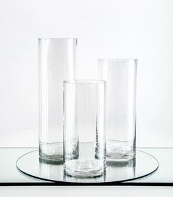 "Clear Cylinder Glass Vase / Candle Holder - 4"" x 12""H Wholes"