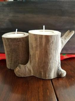 DRIFTWOOD DRIFT WOOD CANDLE HOLDER MADE IN MAINE USA FOR TEA