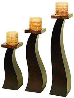 Deco 79 Wood Candle Holder an Special Occasion Decoration, S