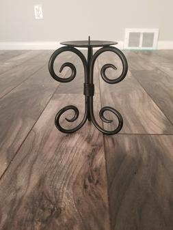 """Decorative Rustic Black Pillar Candle Holder, 8"""" Tall with a"""